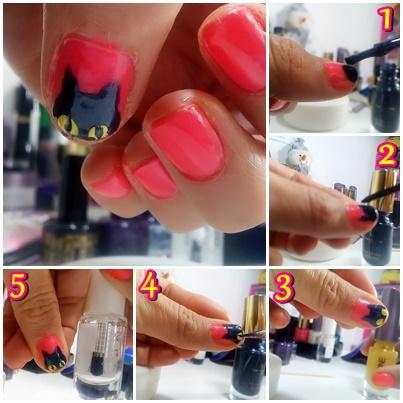 maquillaje de uñas gato halloween tutorial